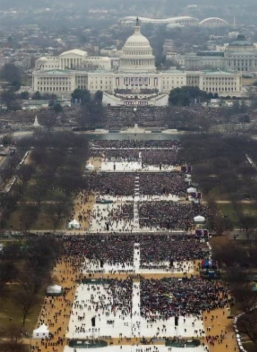 Remember when the left mocked Trump for his inauguration crowd?    Wellp... Biden's is an empty space with flags inside a security zone.