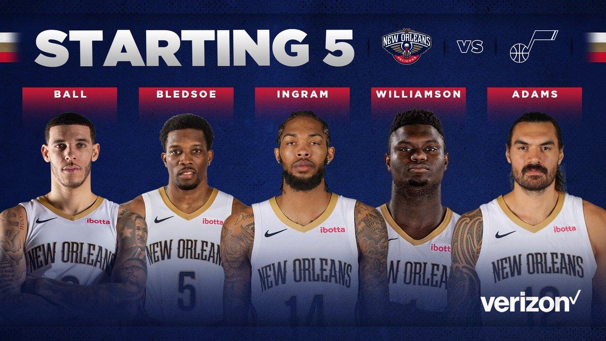 Pelicans starters tonight vs the Jazz! 🏀  #WontBowDown   @Verizon https://t.co/4Nr5YtZYnp