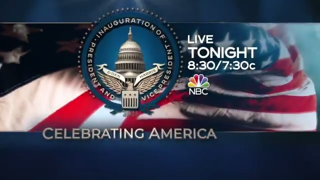 "Tonight on NBC: Watch ongoing coverage of the presidential inauguration followed by ""Celebrating America"" hosted by @tomhanks at 8:30/7:30c on NBC."