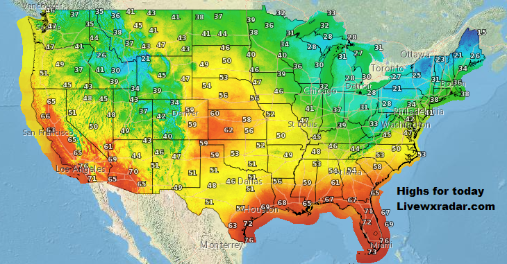 Today's High temps         Temps and Weather at             #wx #weather  #flooding  #nice    #rain #storm #temps  #Freezing #cold# colder #cooling  #lows #usa #nws #news #heat   #Wednesday   #night #week #day