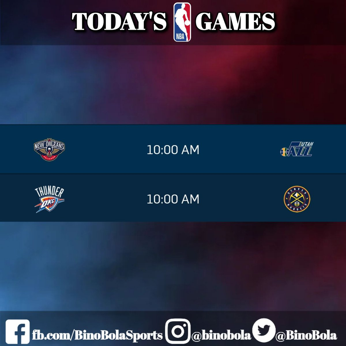 Take a look at the NBA games today!   #RegularSeason #Day28 #BinoBolaSports #GamesSchedules