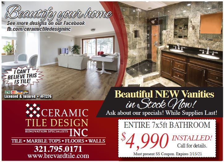 Ceramic Tile Design, Renovation Specialists, Tile, Marble Tops, Floors, Walls, Call Today for Winter Specials! #CeramileTile #beautiful #New #Upgrades #Tile #Marble #CleanFloors #Deals #SavingsSafari #Coupons #PostCards #WeGetresults #BestCirculation #Delivered #EveryTwoWeeks