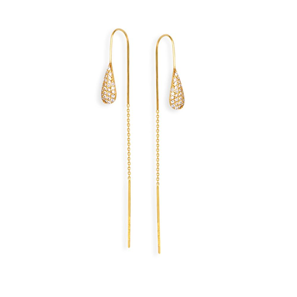 ⎆ You're gonna love this ⎆  14K Yellow Gold Tear Drop Cubic Zirconia Threader Earring  Get your now ➣   ◀︎  #Dazyle #style #fashion #gifts #gold #jewelry #influencers