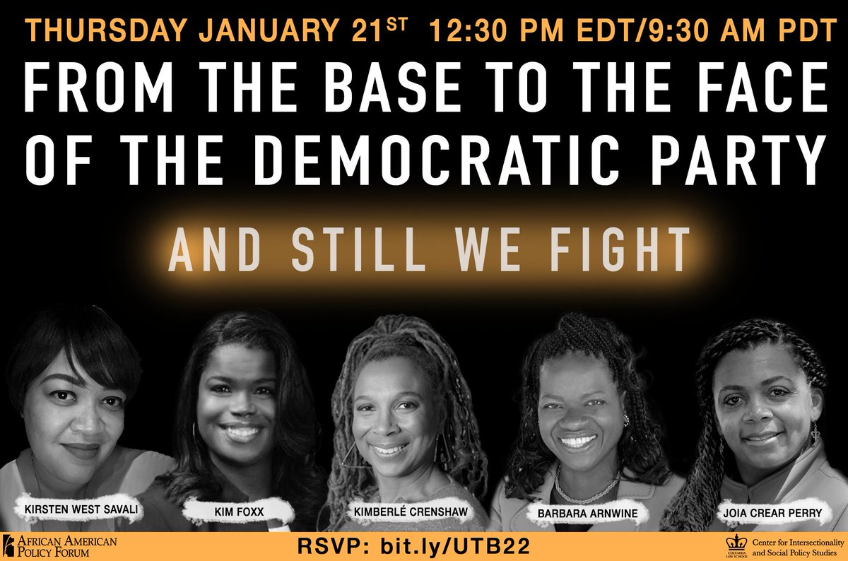 Thursday, join us for a special post-Inauguration Black women's roundtable.  Moderated by @sandylocks, with @KWestSavali, @barbs73, @doccrearperry & @SAKimFoxx.  Register now: