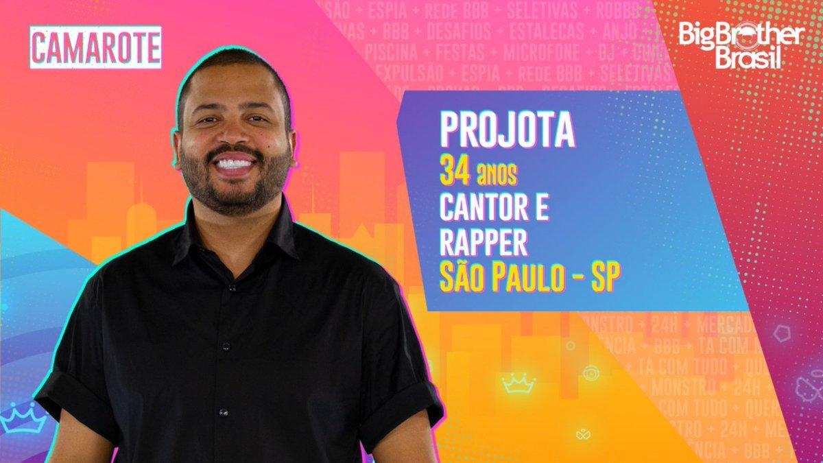 #BBB21 Mais um cantor chegou para compor o grupo do #Camarote. @Projota está na casa mais vigiada do Brasil. O que achou?