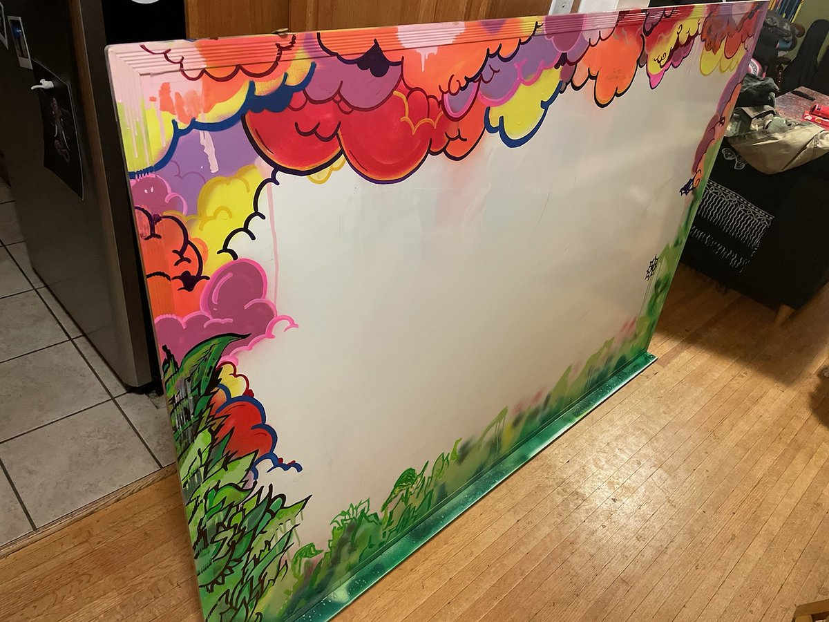 Having my friend and artist do some work to spice up the whiteboards in the office. They are going to be cool once they are finished.