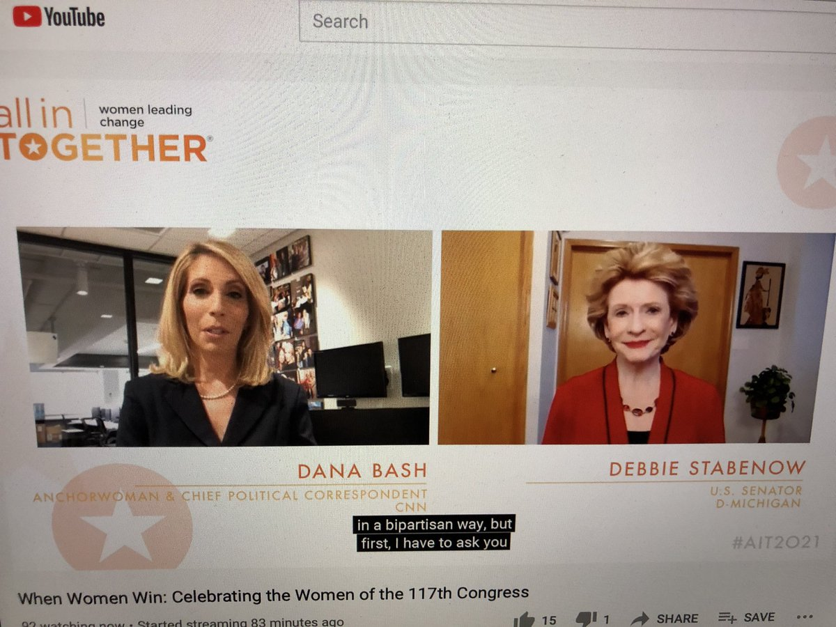 HAPPENING NOW: @DanaBashCNN is talking with @SenStabenow about the shocking events at the Capitol and how she envisions women leading in the 117th #Congress. #AIT2021