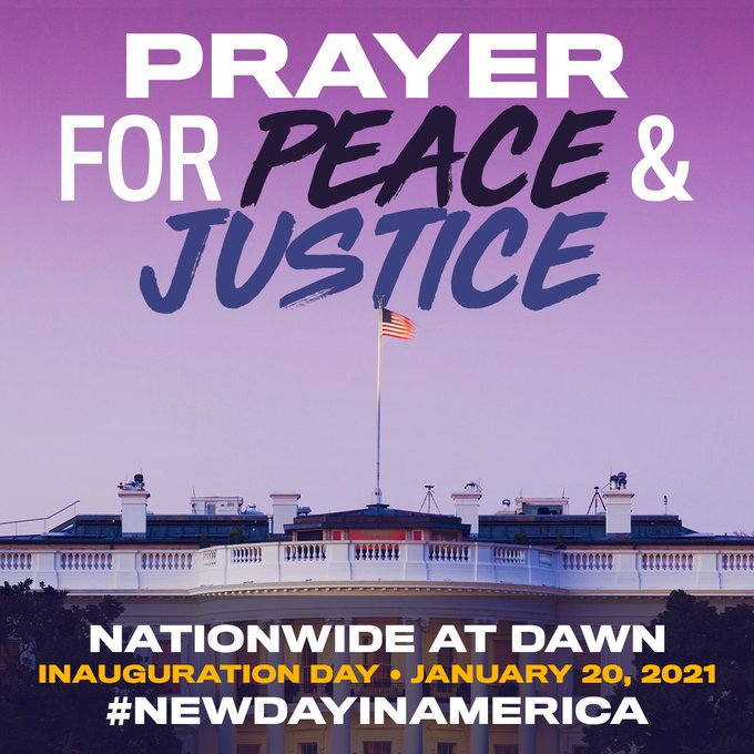 On #InaugurationDay, join in the comfort of your home as people across our country pray & meditate for peace & justice! Let's welcome a #NewDayInAmerica & celebrate all that we've all worked for w the inauguration of @JoeBiden, @KamalaHarris & the #DemocraticMajority in Congress!