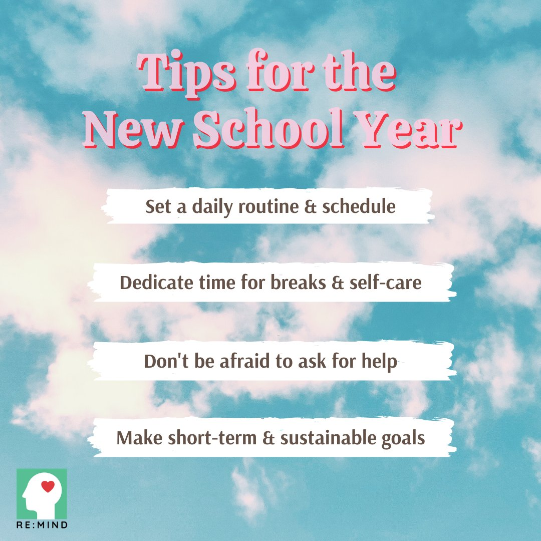 ☁️ #𝙒𝙚𝙡𝙡𝙣𝙚𝙨𝙨𝙒𝙚𝙙𝙣𝙚𝙨𝙙𝙖𝙮  ☁️ Getting ready for the new academic/school year? Starting a new semester can be daunting and mentally tiring, so here are some tips to prepare! 💆🏻♀️Tag a friend 👭🏻 to share these tips!  #ReMind #mentalhealth #wellness #selfcare #hello2021 https://t.co/gZrMu5Aw3O