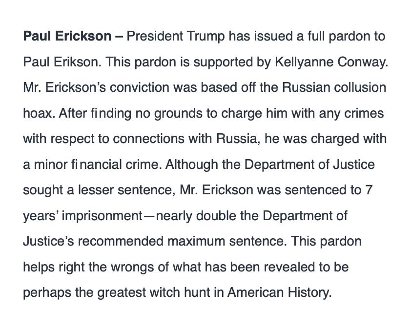 Paul Erickson, ex boyfriend of Maria Butina, has received a full pardon from President Trump.