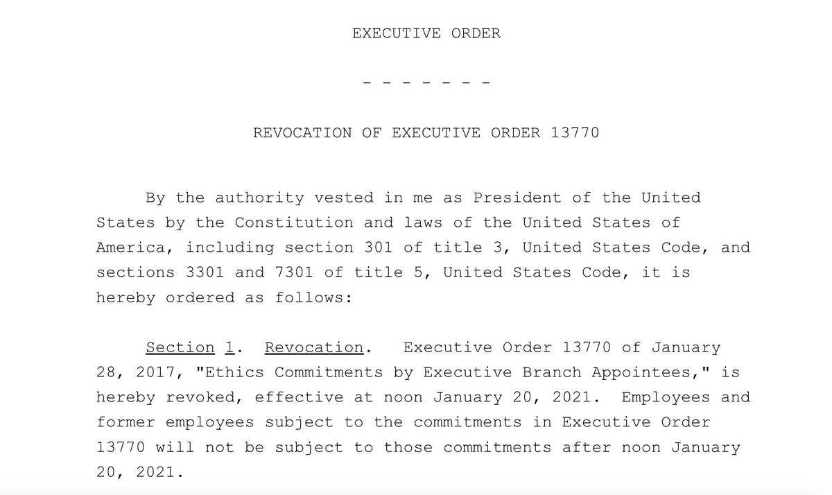 More news: Trump revokes an executive order that *he signed* 8 days into his presidency requiring appointees to sign a pledge that they won't become lobbyists within 5 years of leaving the administration. https://t.co/hRewy8shCX https://t.co/pn9CiGHfD8