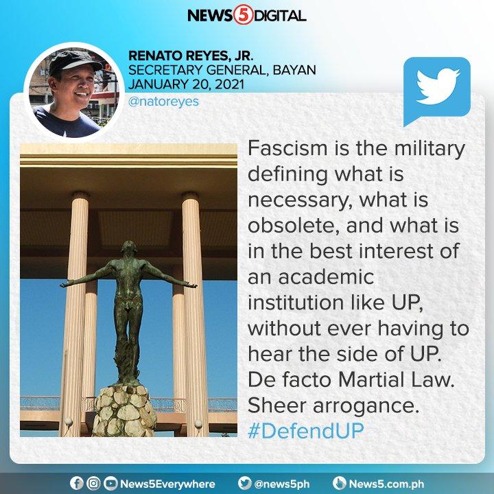 De facto Martial Law. Ganyan ilarawan ni Renato Reyes Jr., secretary general ng Bayan, ang ginawang pagkasela ng Department of National Defense sa UP-DND accord.