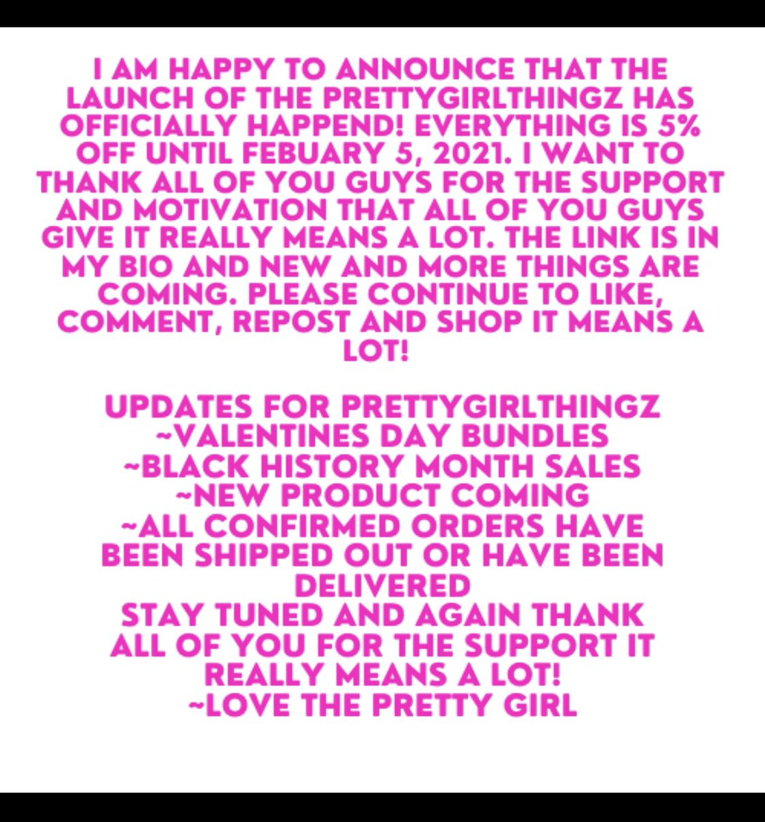 I am so happy to announce that THE PRETTYGIRLTHINGZ WEBSITE! THE LINK IS IN THE BIO✨💕 ~I would like to thank everyone who has made a purchase this far it means a lot ~I ask all of you to keep spreading the word it helps! ~It's only up from here!  #repost #shopsmallbusiness