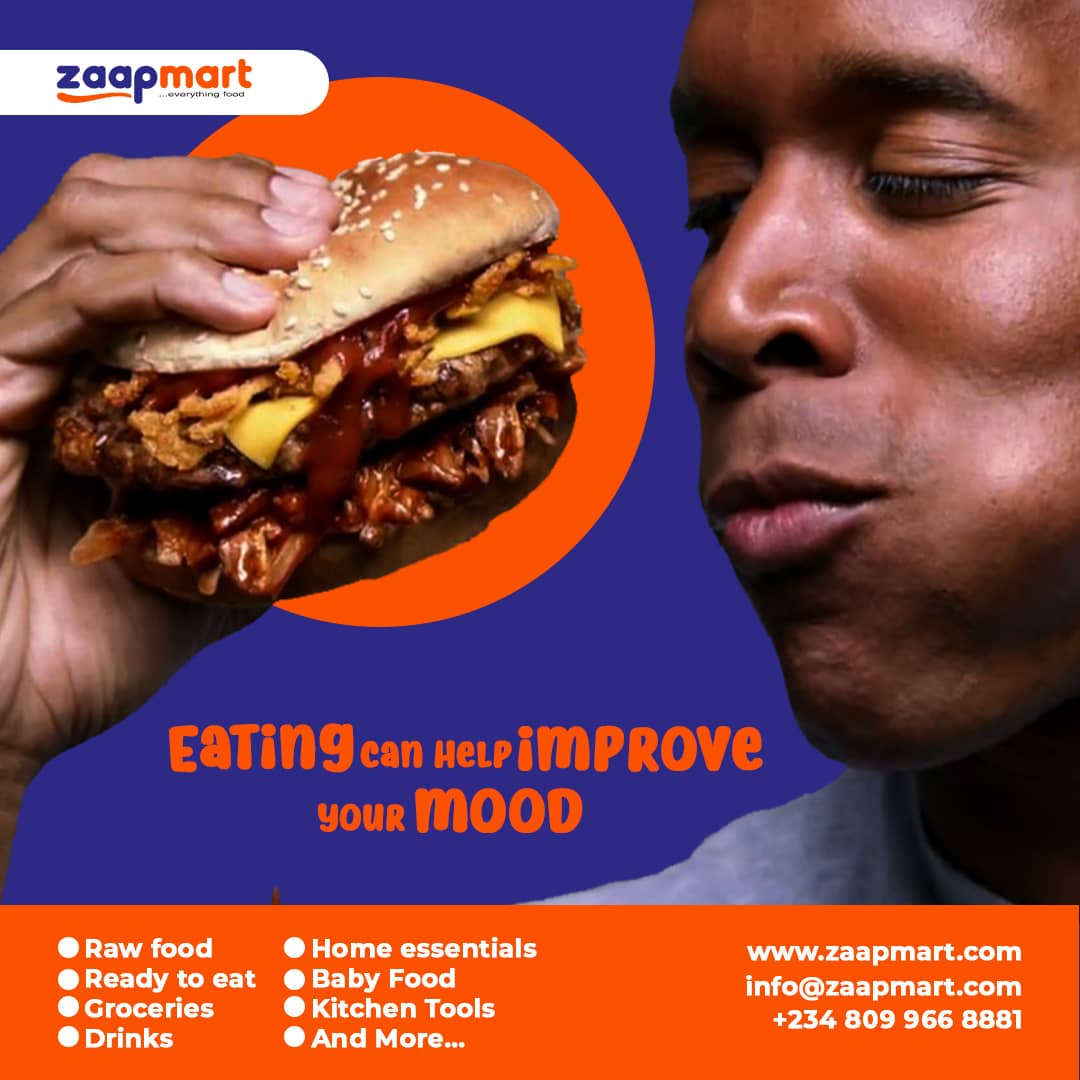 Food facts: Eating can help improve your mood.    So are you having a rough day? Visit  and order yourself some real good food today!  Available in Calabar, Uyo and Port Harcourt.  #zaapmart #zaapit #shoppingonline #instantdelivery #food