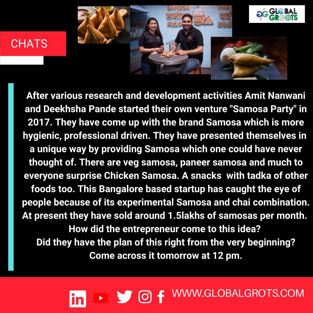 #globalgroots #samosa #snacks #food #hygiene #SAMOSA #India #startups  @GlobalGroots @nanwani_amit @Samosa_Party