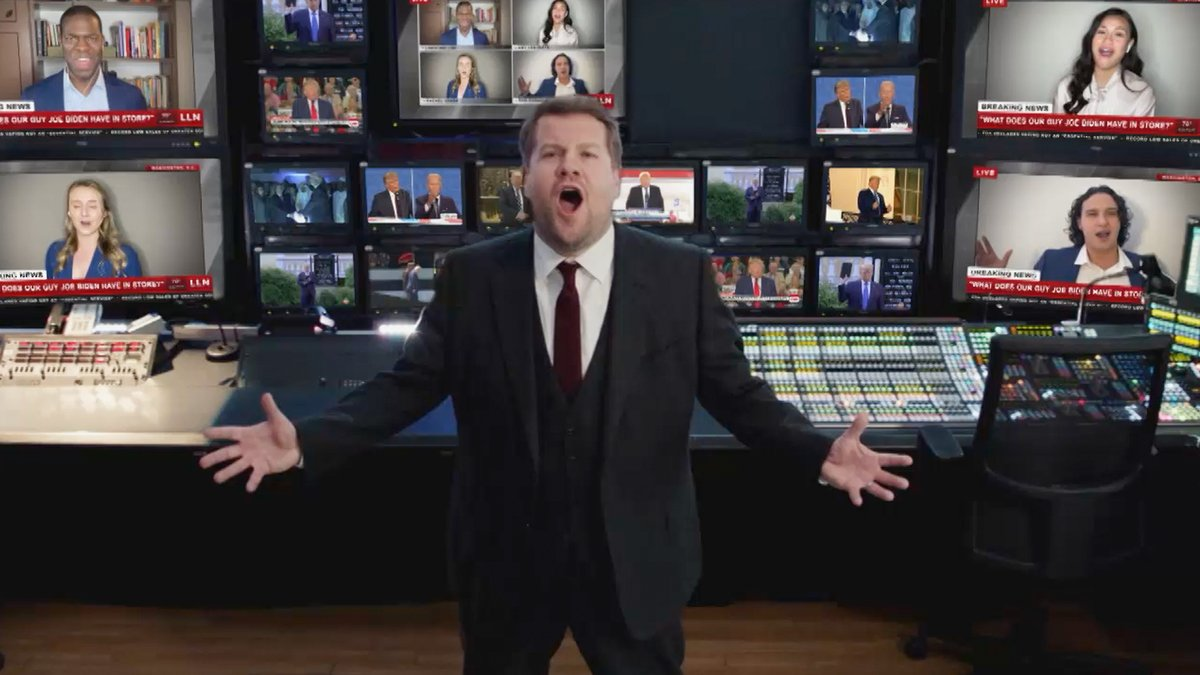 Replying to @latelateshow: .@JKCorden and an array of Broadway friends bid farewell to President Trump, Les Mis style.