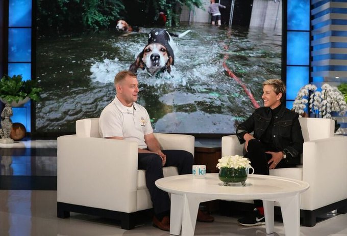 "In 2018, Ryan Nichols drove 18 hours through the night to get people and animals to safety during Hurricane Florence. @TheEllenShow said ""It's people like Ryan Nichols, who rescue dogs in the middle of hurricanes, that give me hope for the world"" https://t.co/VdEoS0FuB0 https://t.co/zLn8oC6QcI"