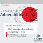 Image for the Tweet beginning: 9VSA21-00367-01 #CSIRT advierte vulnerabilidades entregadas