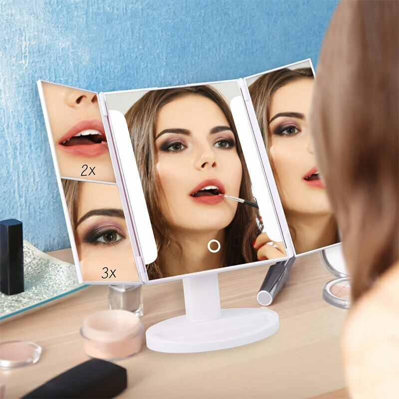 BGR95301 #Home #Decor Home Decor - Creative LED Decor Mirror Touch Screen Tri-fold Mirror for Makeup Table Desktop Decorative Mirror with LED Light Home Decor New