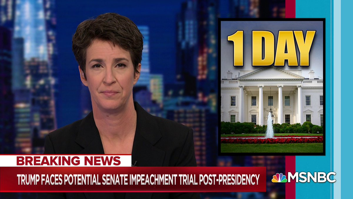 """""""He sneaks out early tomorrow as the only president in living memory to face the legitimate prospect of post-presidential conviction,"""" @Maddow says. """"Unequivocally and inarguably the worst president in American history, with what may literally may be the rap sheet to prove it."""""""