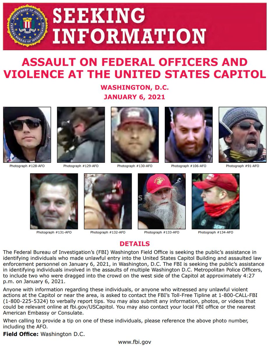NEW: #FBIWFO is seeking the public's help in identifying those involved in an assault on two  @DCPoliceDept officers at the US Capitol on Jan 6. If you have info, call 1800CALLFBI or submit photos/video to https://t.co/NNj84wkNJP. https://t.co/7jBAbhvg3f
