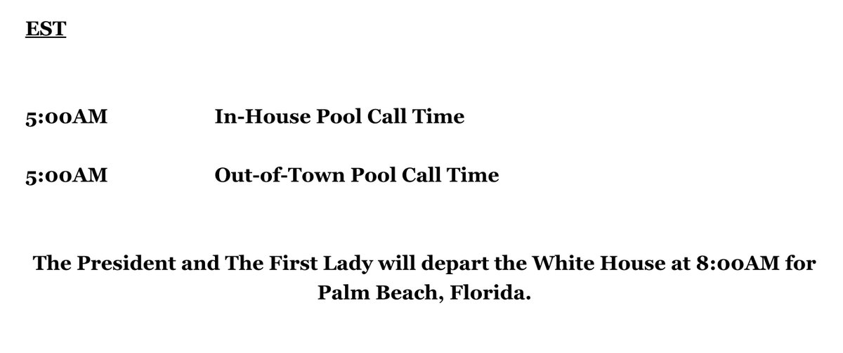 Trump's final public schedule as president: