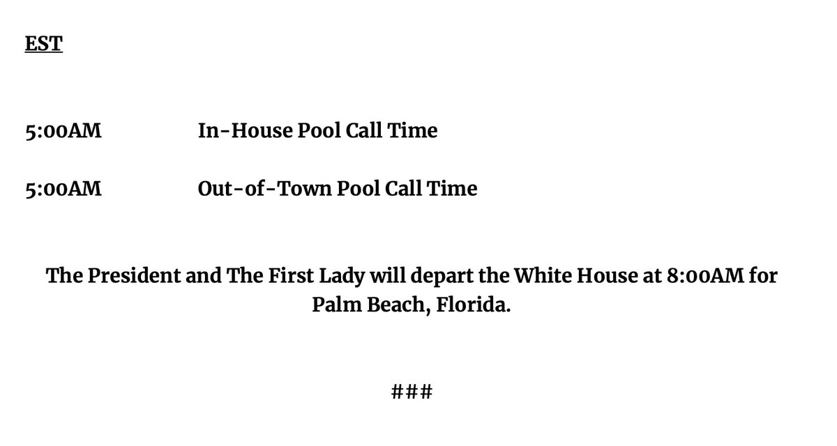 END OF THE TRUMP ERA -- Here is the final Daily Guidance, which is sent by the Trump White House to reporters each night. https://t.co/FoLDJVKNjX
