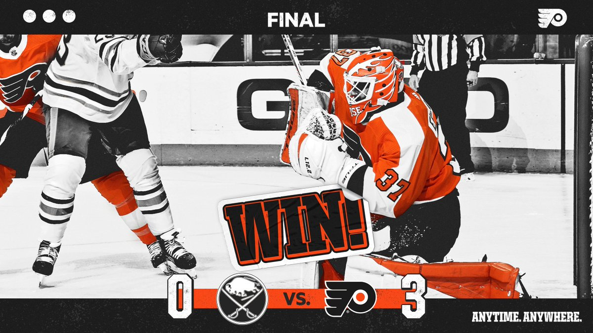 Replying to @NHLFlyers: 🔶 FLYERS WIN 🔶  Vengeance.  #AnytimeAnywhere | #BUFvsPHI