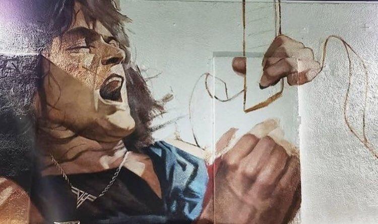 <Fantastic work @TheRobertVargas!> External wall of @GuitarCenter in Hollywood, CA. #EddieVanHalen #EVH #VanHalen