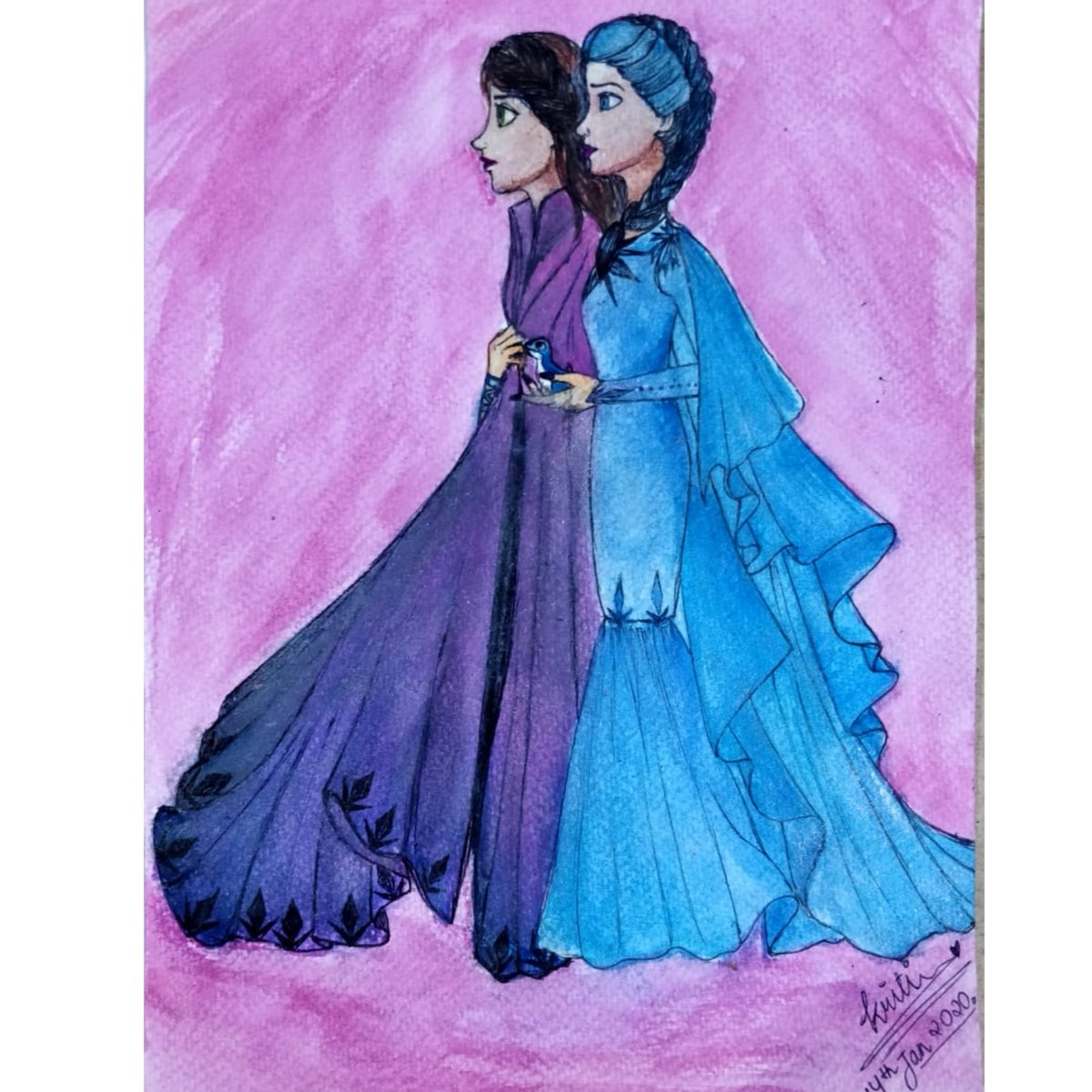 Anna and Elsa in outfits designed by me. ✌🏻  #emeraldhime #art #artist #drawing #artwork #photooftheday #fashion #style #frozen #painting #artistsoninstagram #illustrationart #fashiondesign #design  #illustration #sketch #artistsontwitter