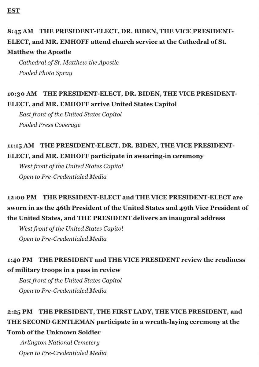 Replying to @AndrewSolender: NEW: Biden's schedule for tomorrow