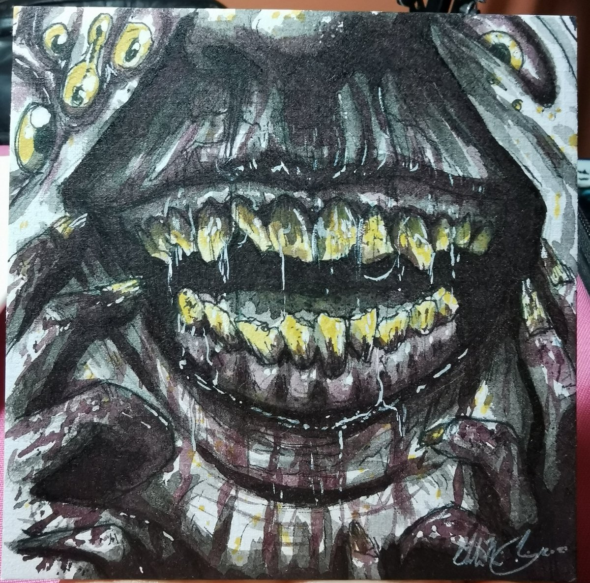 Stream over! The ink is great not too opaque great for layers. #horror #monster #creepy #inkdrawing #artistsontwitter