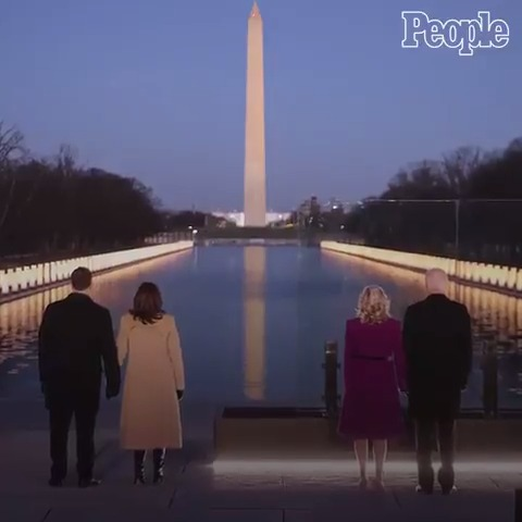 At a solemn ceremony at the Lincoln Memorial Reflecting Pool in Washington, D.C., President-elect Joe Biden and Vice President-elect Kamala Harris each took turns Tuesday night memorializing COVID-19's victims: