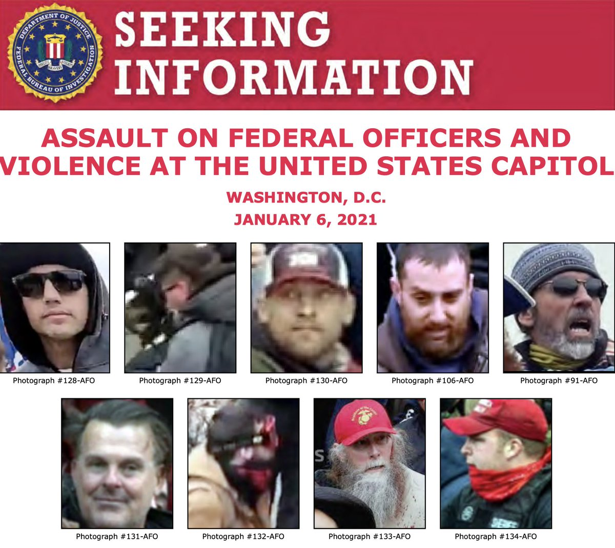 Help the #FBI identify individuals who unlawfully entered the U.S. Capitol on January 6 and assaulted multiple Metropolitan Police Department officers. If you have information about any of the individuals, submit a tip at . @FBIWFO