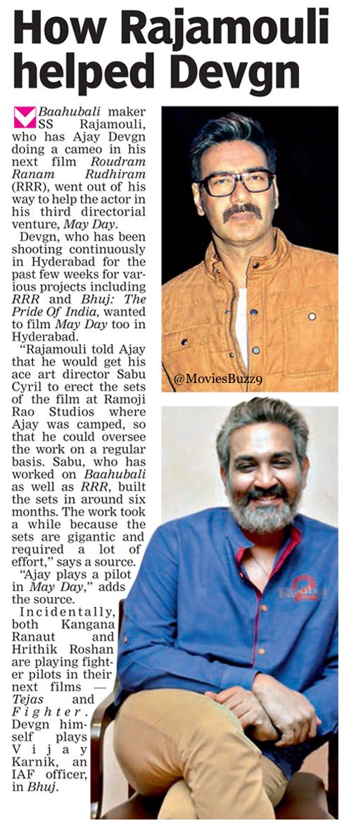 #Rajamouli told #AjayDevgn that he would get his ace Art Director #SabuCyril to erect the sets of the film at #RFC, #Hyderabad where @ajaydevgn was camped, so that he could oversee the work on a regular basis @ssrajamouli  #MayDay #RRR