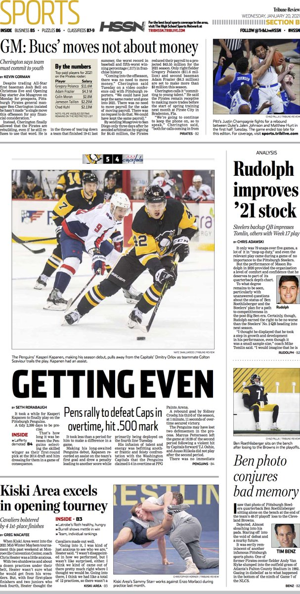 Here's an early look at Wednesday's #frontpage of @TribSports #LetsGoPens