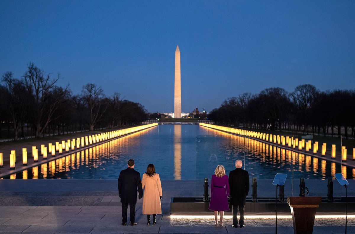 Tonight, in Washington, D.C. and across the nation, we came together to honor the over 400,000 Americans we've lost to COVID-19. The last year has tested us in unimaginable ways, but now it's time we begin to heal and overcome — together.