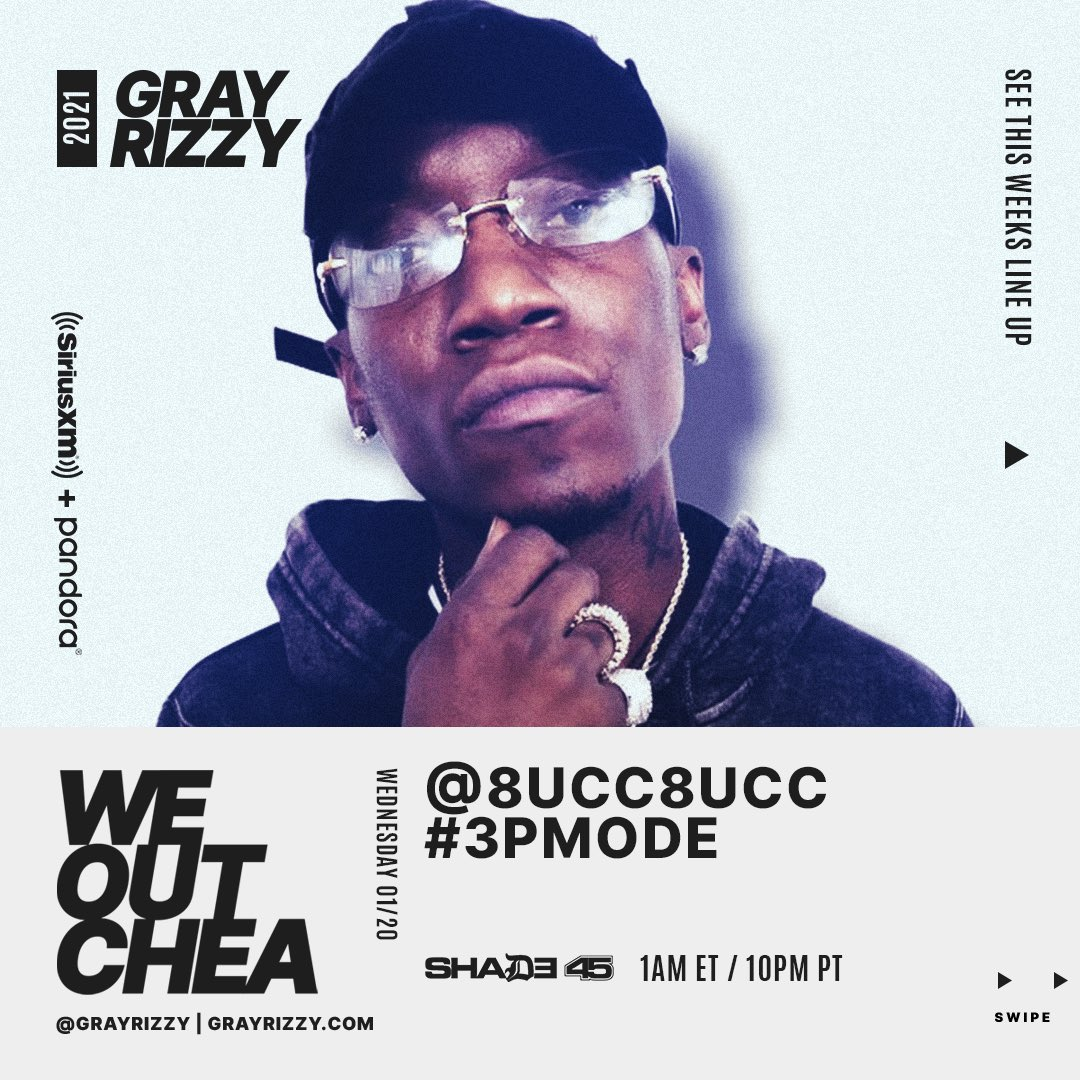 Coney Island's own @8ucc8ucc (IG) is stopping thru The #WeOutchea Show TONIGHT with @grayrizzy to talk about his new project #3pMode and more! Show starts at Midnight ET / 9p PT. Tap in! 🔥