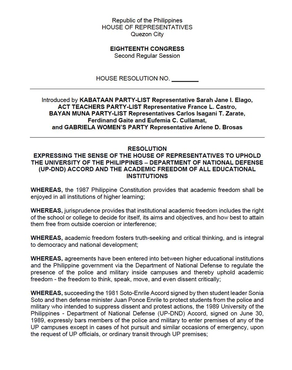 LOOK: Makabayan Bloc files a resolution calling upon the @HouseofRepsPH to urge @dndphl to uphold the 1989 UP-DND Accord. Albay Rep. Edcel Lagman, meanwhile, filed, yesterday, a resolution to probe the DND's unilateral abrogation of the pact. #DefendUP #DefendAcademicFreedom