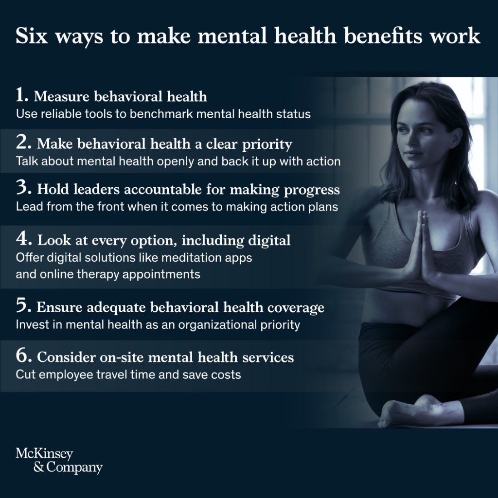 #MentalHealth in the workplace is a top priority 🧠  Follow these six tips to ensure you're doing everything you can for employees.  Learn more about what McKinsey is doing to improve the state of mental health in the workplace: https://t.co/AGnqp9631J https://t.co/gwOeyu1IXP