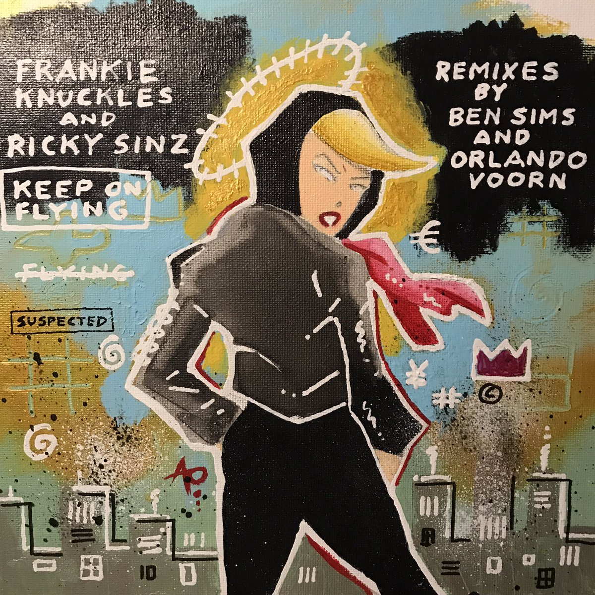 """First piece of art of 2021; album cover for @suspectedmusic. #FrankieKnuckles & #RickySinz """"Keep On Flying"""" w/ remixes by @djbensims & @orlandovoorn. Acrylic on canvas. Happy Birthday Frankie! #art #painting #design #albumcover #vinyl #alanoldhamart #polymath"""