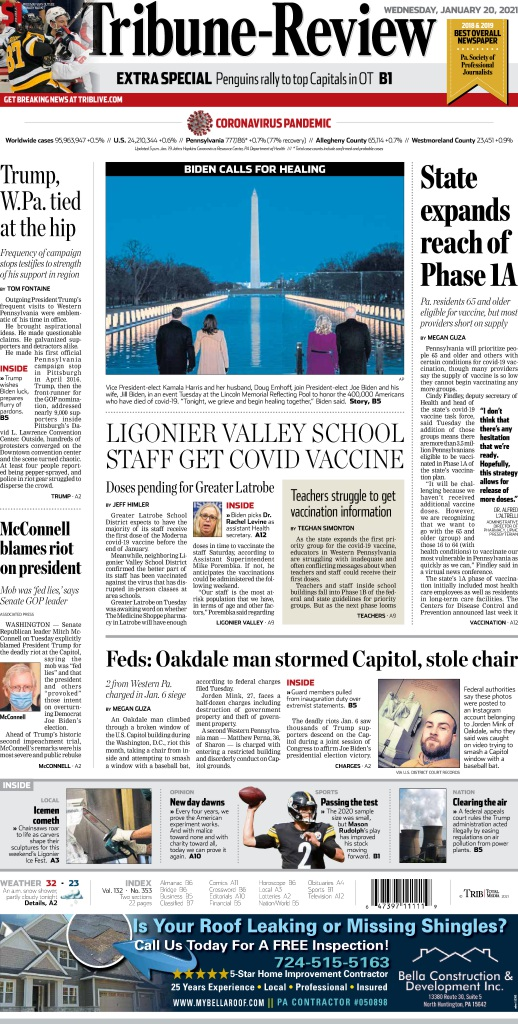Replying to @TribLIVE: Take a sneak peek at Wednesday's edition of the Tribune-Review. #TomorrowsPapersToday