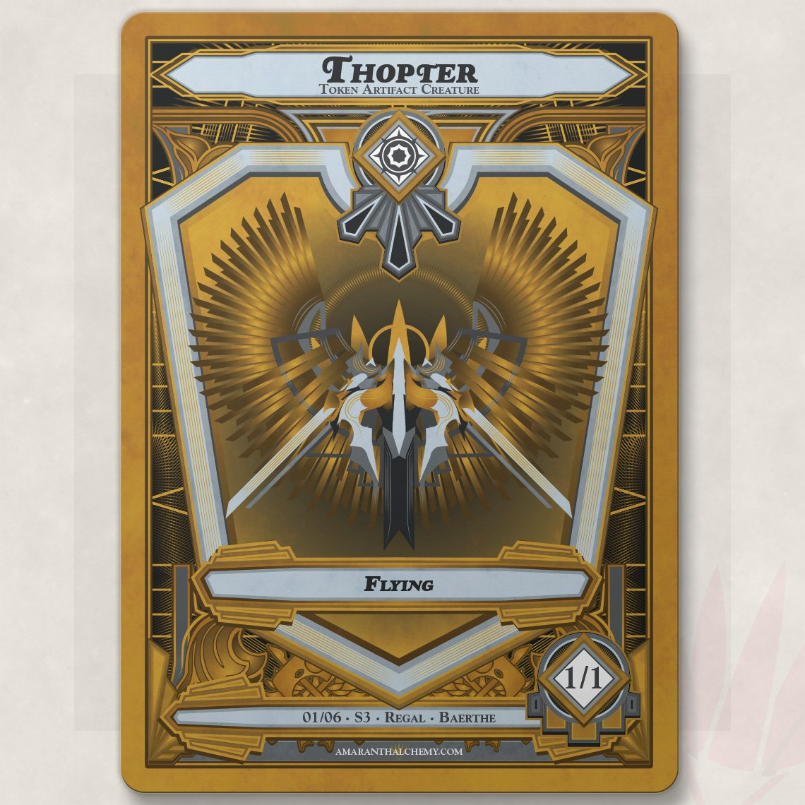 Finished the frame and first token for my new series of #mtg #tokens based on Art Deco design. Weirdly, I went for a challenge this month and did it entirely in #AdobeIllustrator   Available this month only on my Patreon:  #Design #Art #artDeco #illustrator