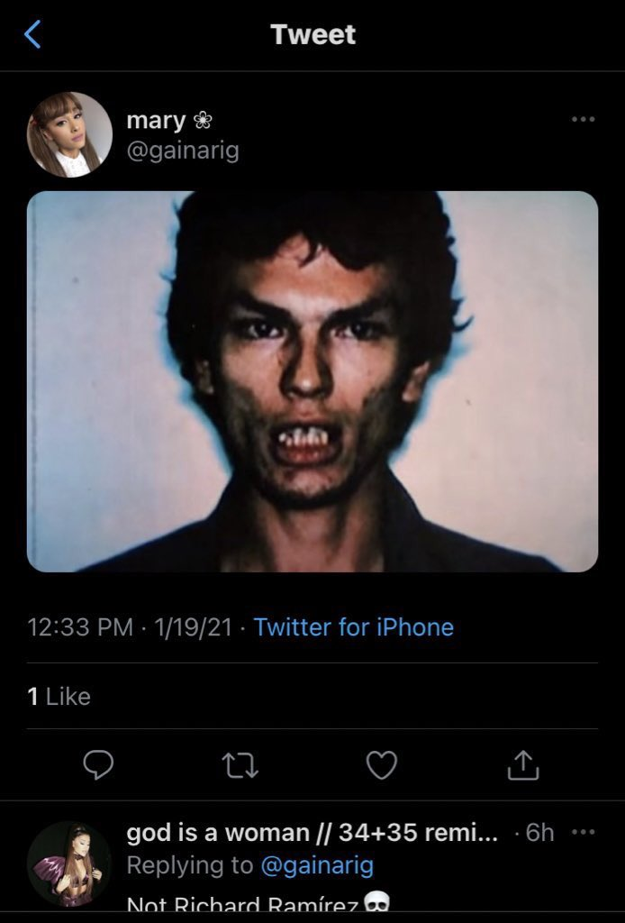 for those unaware, richard ramirez was a serial k!ller from the 80's, y'all aren't about to sit here and turn this evil mf into a reaction picture or meme..it's disgusting as heII
