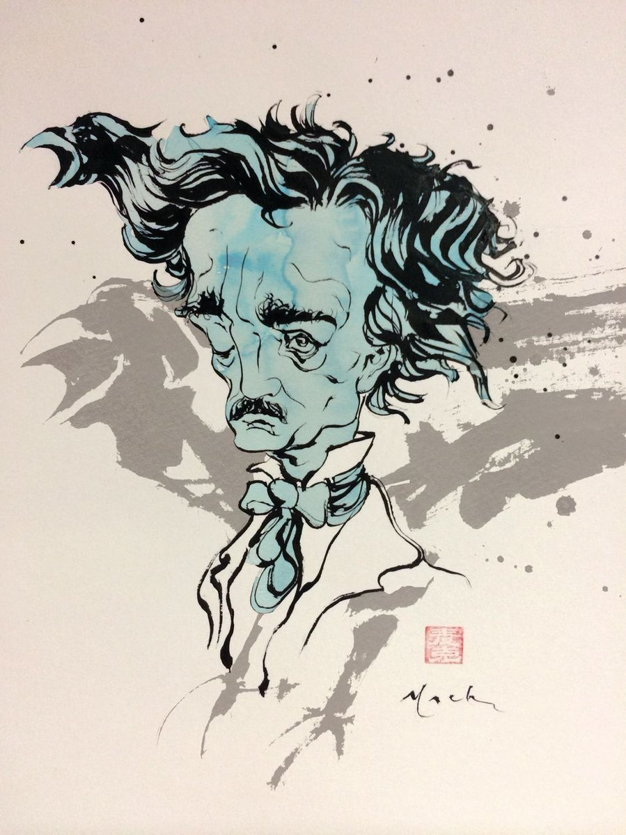 """Replying to @davidmackkabuki: """"Evermore""""  #Birthday of #EdgarAllanPoe Brush & ink."""