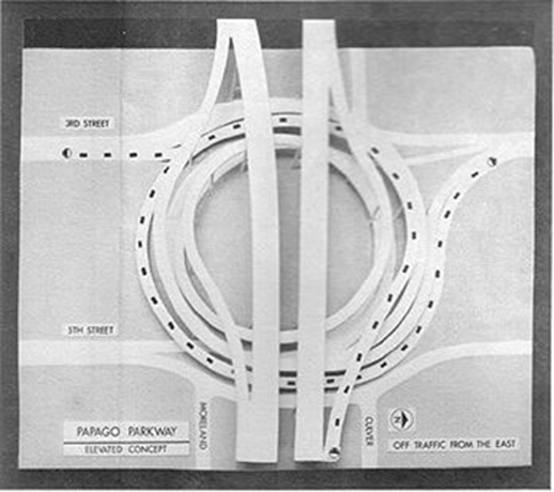 HELICOILS!  This early concept for Interstate 10 through downtown Phoenix was highly divisive in its day before being rejected by voters.  Read more in this classic ADOT blog: