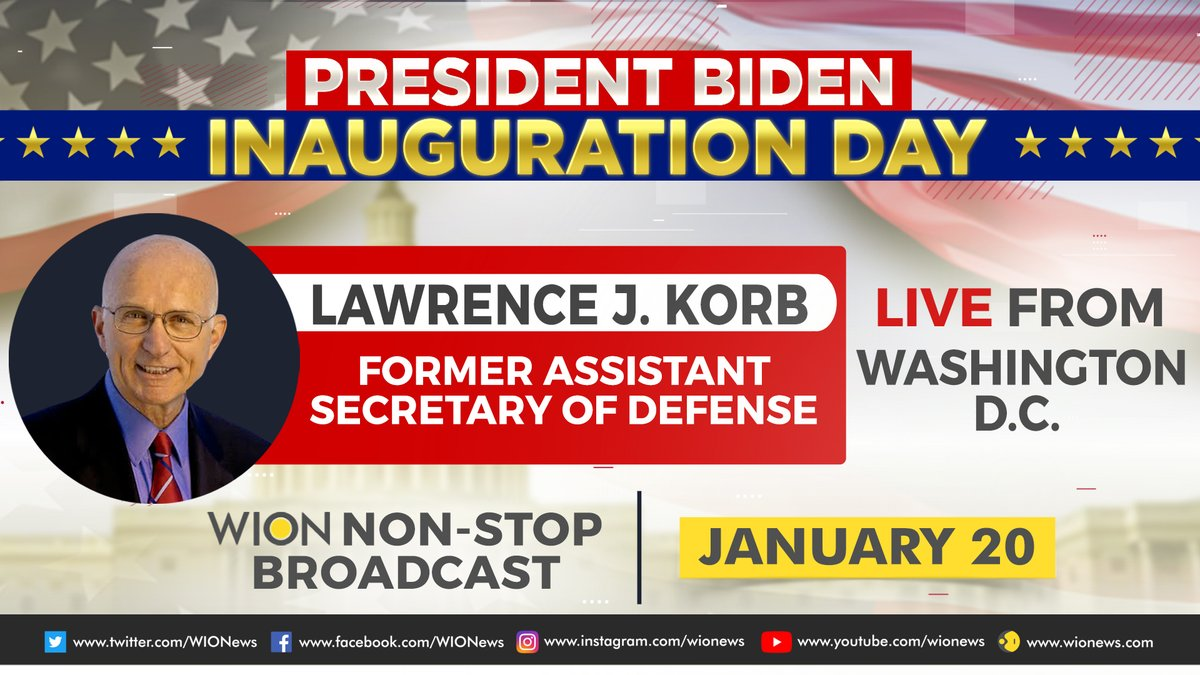 #Inauguration2021   As the White House prepares to make way for the Bidens, WION brings you the top US experts LIVE from Washington DC.  Watch Lawrence J. Korb (@LarryKorb), Former Assistant Secretary of Defense, share his insights on the #InaugurationDay