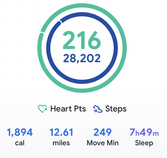Day Two of crazy town walking. Can't last for long — going around the park a third time without a break was probably unwise. Still I'm racking up the numbers and that's the number-one motivating factor in all this. Test scores, y'all!   #GoogleFit