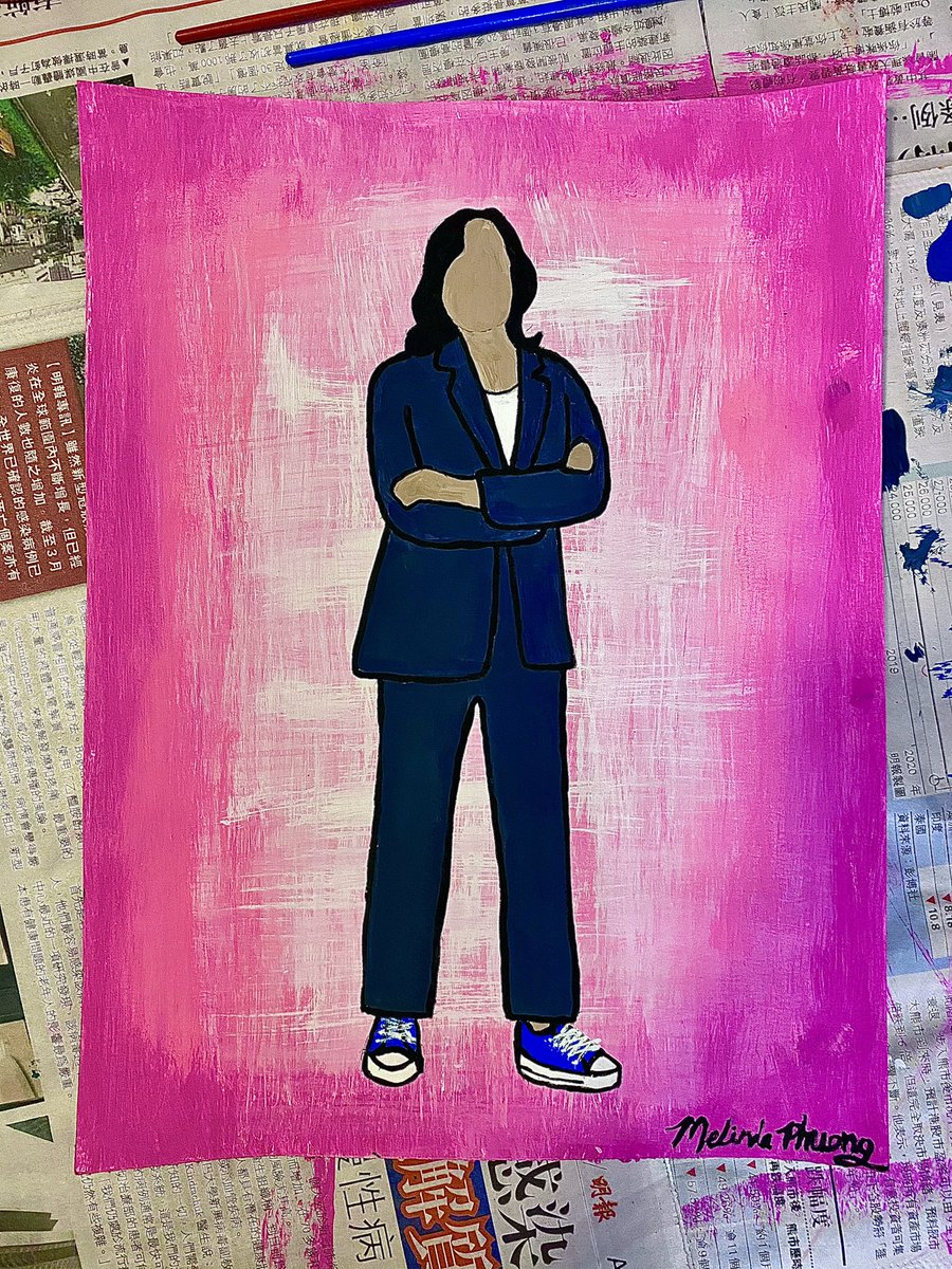 Tonight's painting was inspired by the excitement I'm feeling about #InaugurationDay, even though I'm Canadian. History will be made when @KamalaHarris gets sworn in as the first Black, South Asian, woman Vice President of the USA! 🤩  #Inauguration2021  #BidenHarrisInauguration