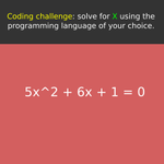 Image for the Tweet beginning: Coding challenge: solve for X